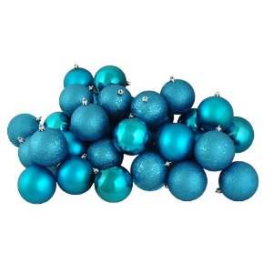 Teal Christmas Ball Ornaments