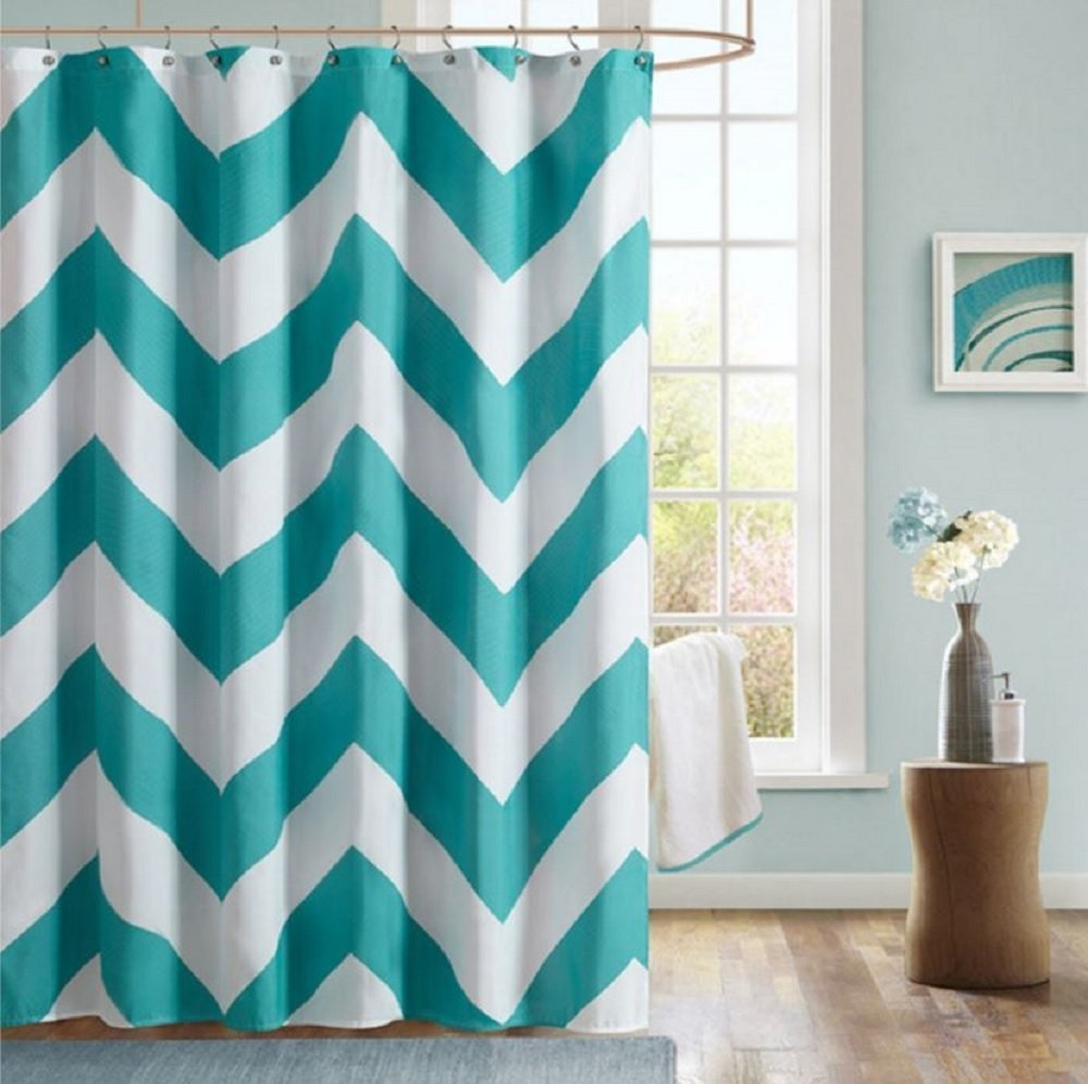 and White Chevron Bathroom