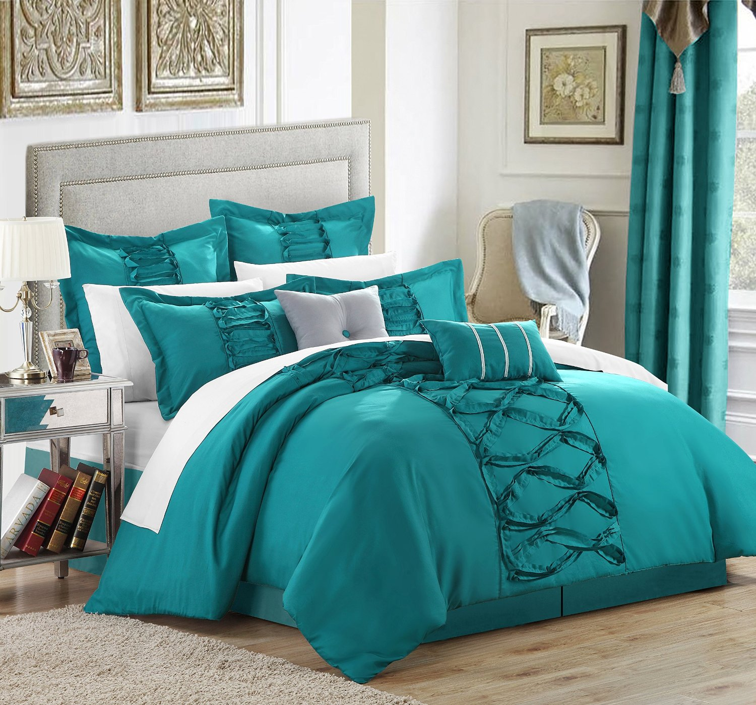 Ruffled Teal Comforter Set