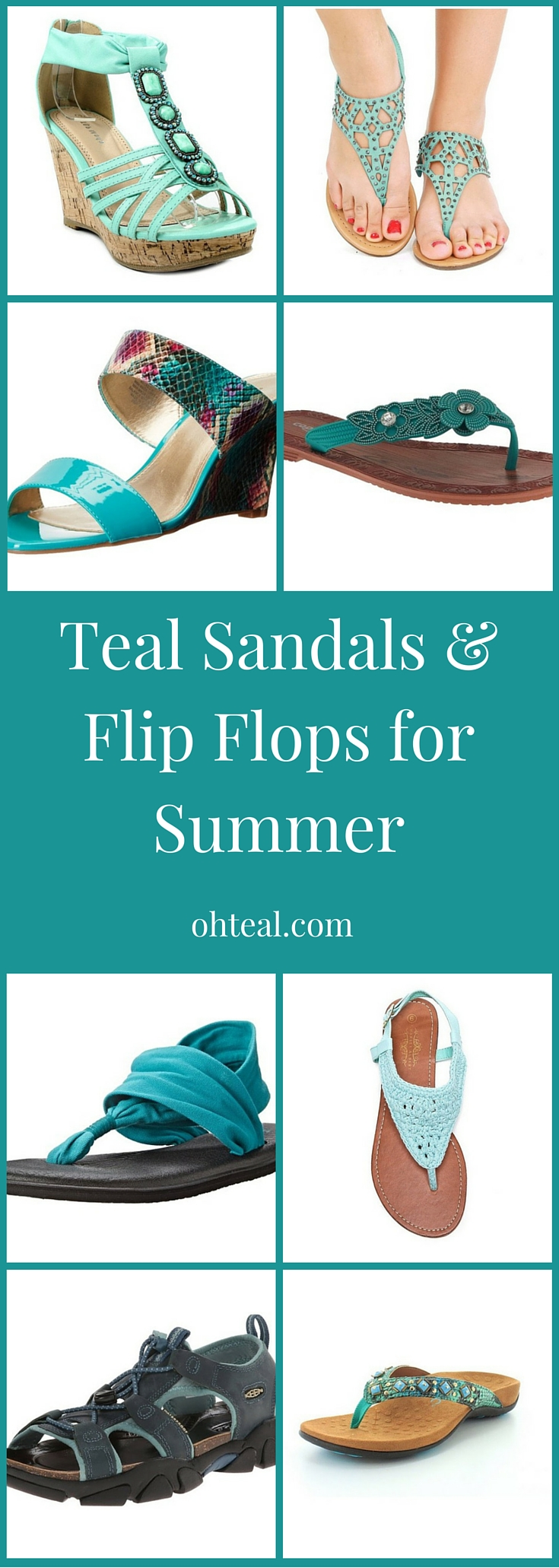 Teal Sandals & Flip Flops for Summer