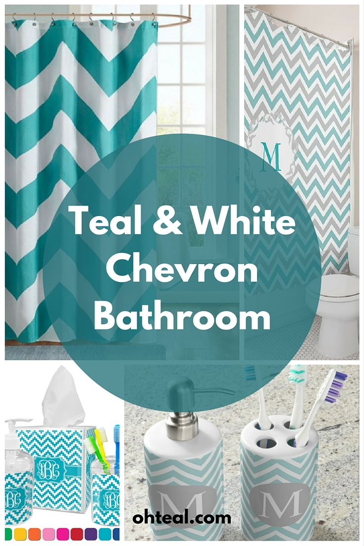 Teal and White Chevron Bathroom