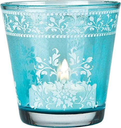 Luna Bazaar Flower Design Hand Painted Glass Candle Holder
