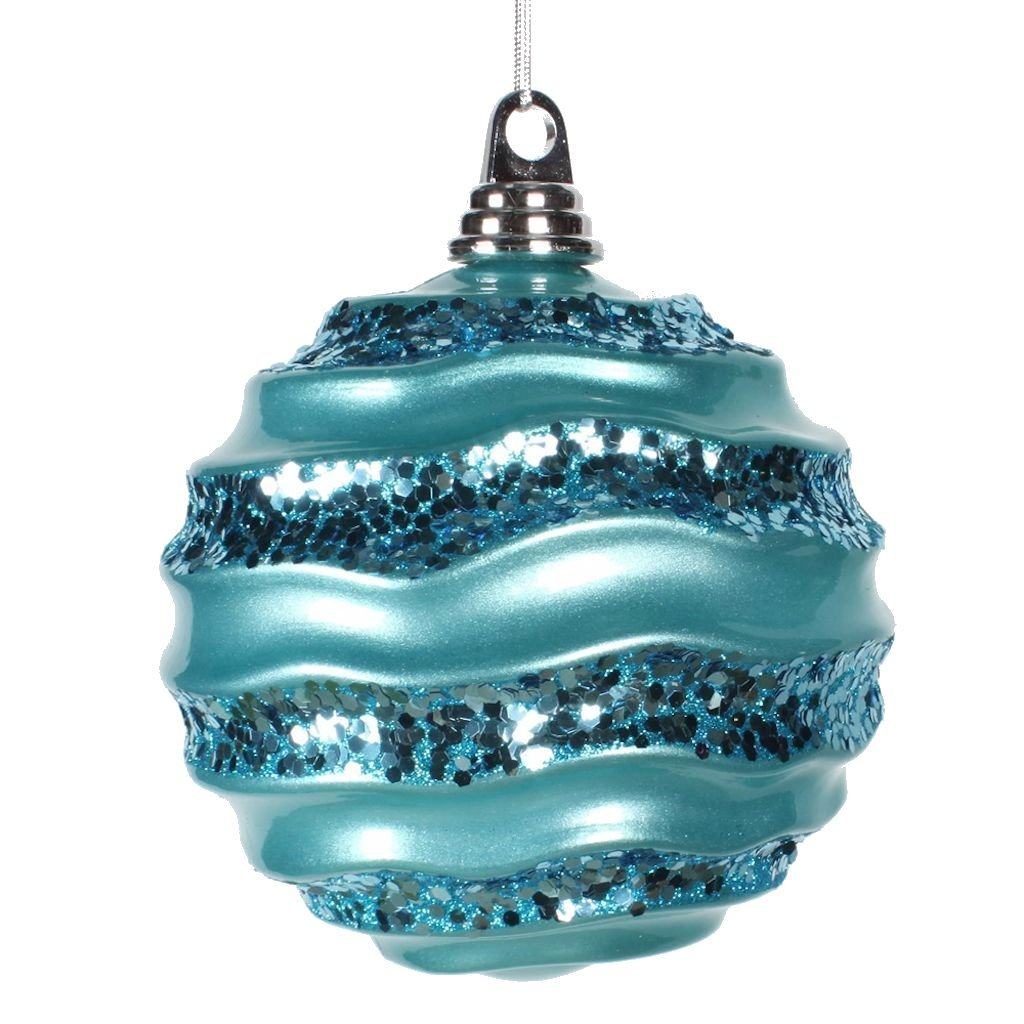 Teal Glitter Wave Ornaments